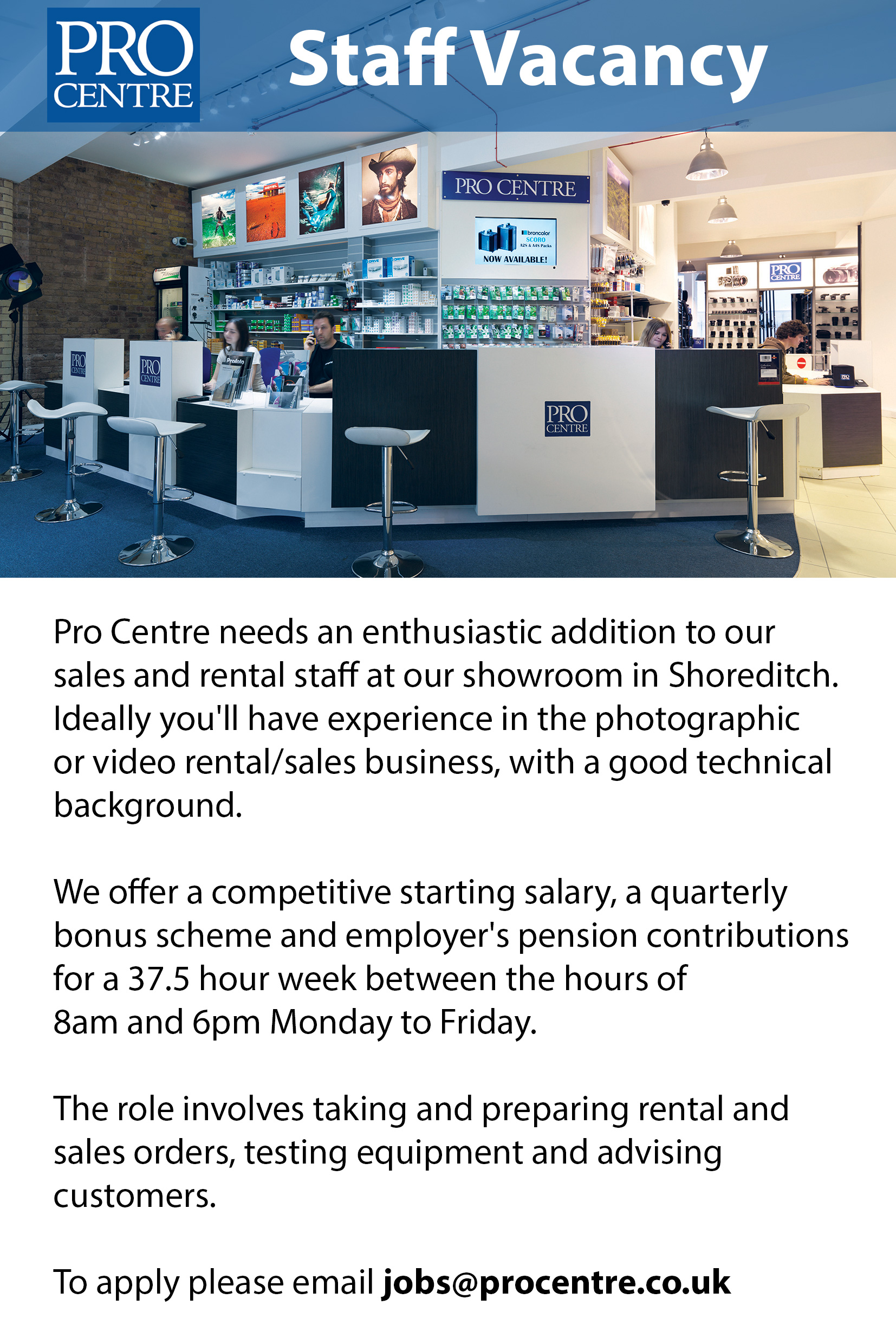 Staff vacancy at Procentre London